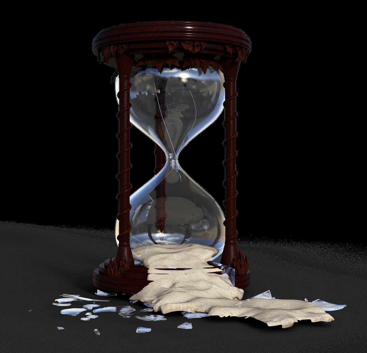 hourglass, flow of time, broken