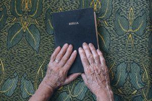 bible, book, hands